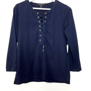 J. Crew Lace-up Neckline Casual Navy Blouse Top S